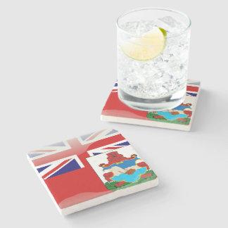 Bermudian glossy flag stone coaster