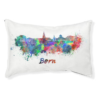 Bern skyline in watercolor pet bed