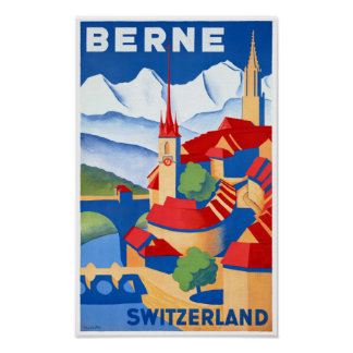 Bern Switzerland Vintage Travel Poster Restored