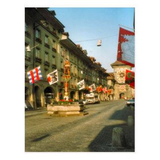 Berne, Main street and clock tower, Postcard