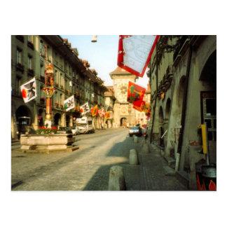 Berne, Main street and clocktower Postcard