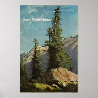 Berner Oberland, Schweiz, Travel Ski Poster