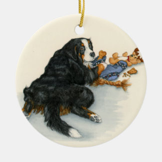 Berner with stocking ceramic ornament
