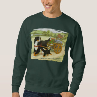 Bernese Mountain Dog and Pup with Cart Sweatshirt