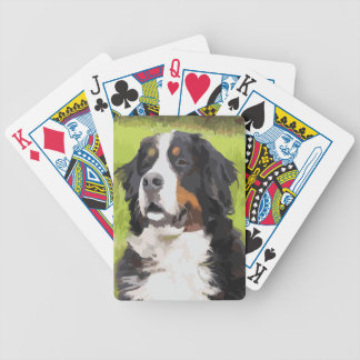 Bernese mountain dog bicycle playing cards