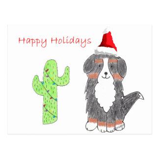 Bernese Mountain Dog Cactus Christmas Postcard