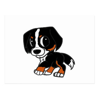 bernese mountain dog cartoon rust postcard