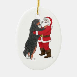 Bernese Mountain Dog Christmas Greeting Ceramic Oval Decoration