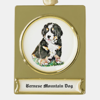 Bernese Mountain Dog Gold Plated Banner Ornament