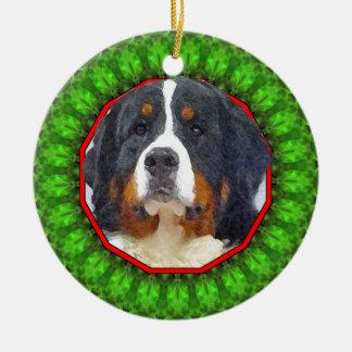Bernese Mountain Dog Happy Howliday Ceramic Ornament