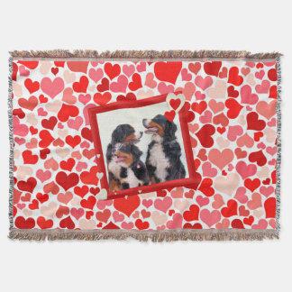Bernese Mountain dog Heart Throw Blanket