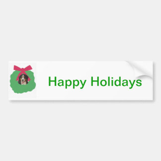 Bernese Mountain Dog Holiday Wreath Bumper Sticker