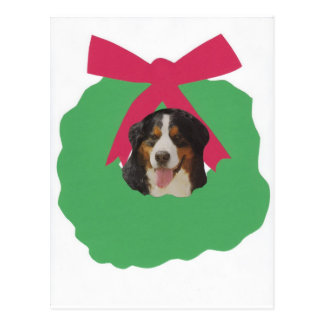 Bernese Mountain Dog Holiday Wreath Postcard