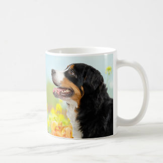 Bernese Mountain dog in the flower garden Coffee Mug