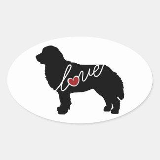 Bernese Mountain Dog Love Oval Sticker