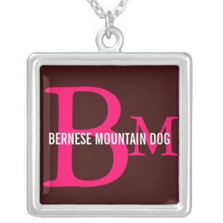 Bernese Mountain Dog Monogram Square Pendant Necklace