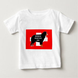 bernese mountain dog name silhouette on flag rust. baby T-Shirt