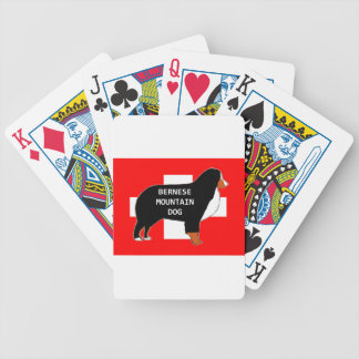bernese mountain dog name silhouette on flag rust. bicycle playing cards