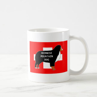 bernese mountain dog name silhouette on flag rust. coffee mug