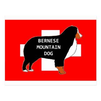 bernese mountain dog name silhouette on flag rust. postcard