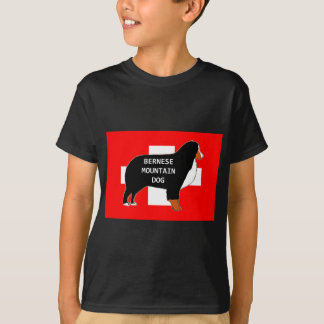 bernese mountain dog name silhouette on flag rust. T-Shirt