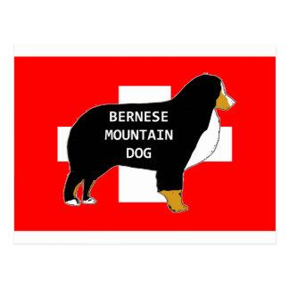 bernese mountain dog name silhouette on flag tan.p postcard