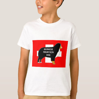 bernese mountain dog name silhouette on flag tan.p T-Shirt