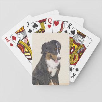 Bernese Mountain Dog Painting - Original Dog Art Playing Cards
