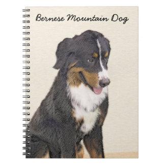 Bernese Mountain Dog Painting - Original Dog Art Spiral Notebook