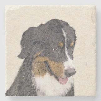 Bernese Mountain Dog Painting - Original Dog Art Stone Coaster