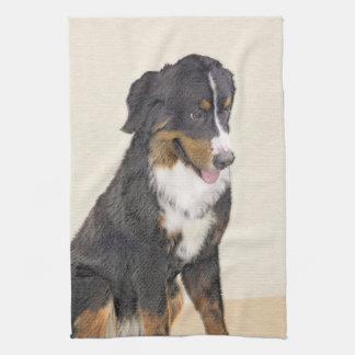 Bernese Mountain Dog Painting - Original Dog Art Tea Towel