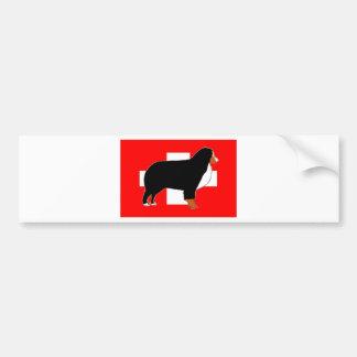 bernese mountain dog silhouette on flag rust bumper sticker