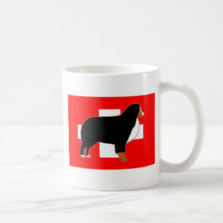 bernese mountain dog silhouette on flag rust coffee mug