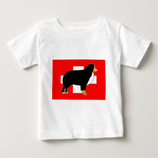 bernese mountain dog silhouette on flag tan baby T-Shirt