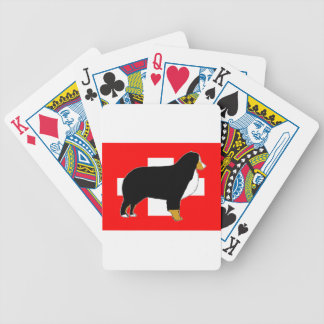 bernese mountain dog silhouette on flag tan bicycle playing cards