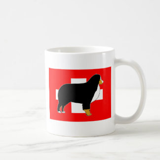 bernese mountain dog silhouette on flag tan coffee mug