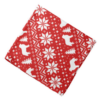 Bernese Mountain Dog Silhouettes Christmas Pattern Bandana