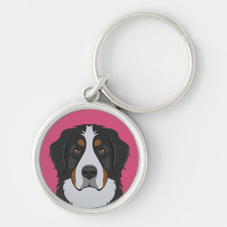 Bernese Mountain Dog Silver-Colored Round Key Ring