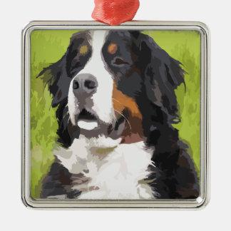 Bernese mountain dog Silver-Colored square decoration