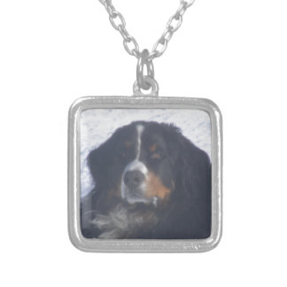 Bernese Mountain Dog Square Pendant Necklace