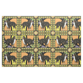 """Bernese Mountain dog """"stained glass"""" fabric"""