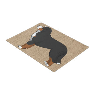 Bernese Mountain Dog Tan Burlap Doormat