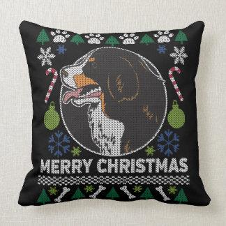 Bernese Mountain Dog Ugly Christmas Sweater Design Cushion