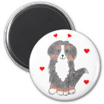 Bernese Mountain Dog Valentine Ears 6 Cm Round Magnet