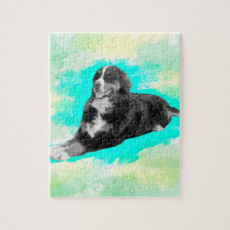 Bernese Mountain Dog Watercolor Art Jigsaw Puzzle
