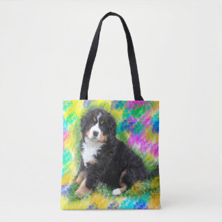 Bernese Mountain Dog Watercolor Art Painting Tote Bag