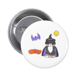 Bernese Mountain Dog Witch Button
