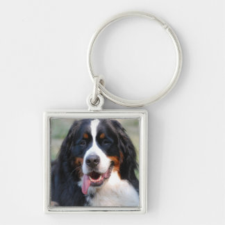 Bernese Mountain Dog with Big Tongue Keychain
