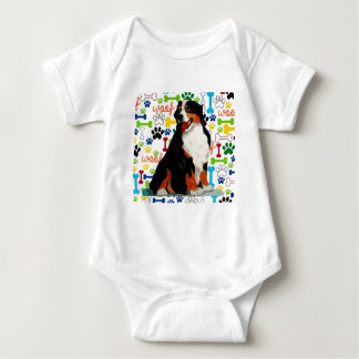 Bernese Mountain dog woof paw bone Baby Bodysuit