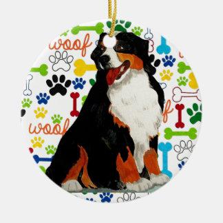 Bernese Mountain dog woof paw bone Ceramic Ornament